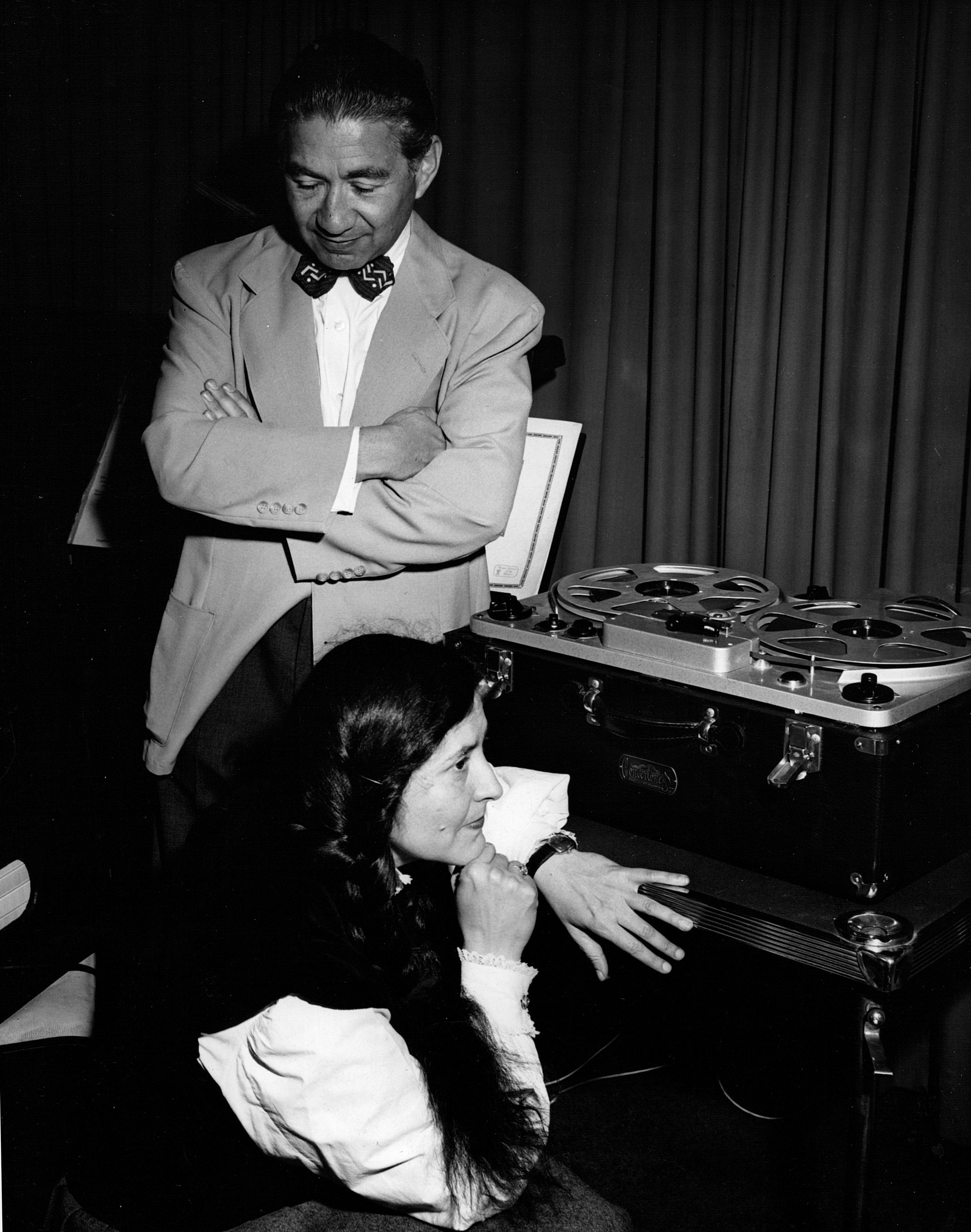 Henri Temianka and Lili Krauss audition a recording of their Beethoven sonata performance, ca. 1947.