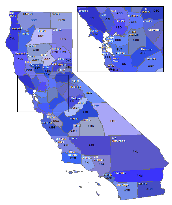 Map showing California USDA county codes
