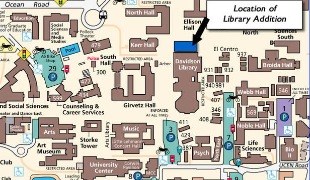 Campus map showing site of the library addition