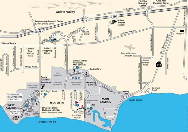 Map showing location of the UCSB campus