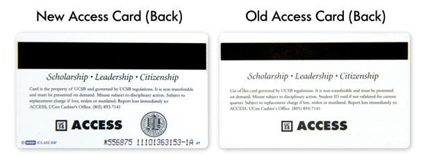 Samples of new, old Access ID cards