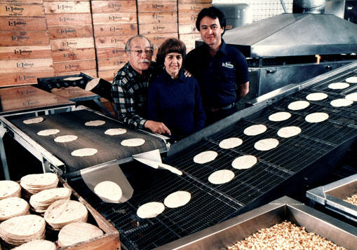 The Claveria's at their La Tolteca tortilla factory in Santa Barbara