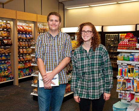 Student winners Justin Hart and Kate Wilkins