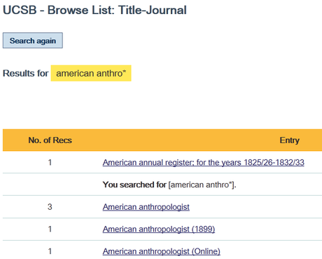 The journal titles will be listed alphabetically