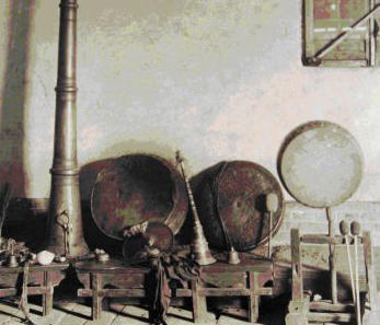 Photo of Silk Road musical instruments, from Bernath Mss 80