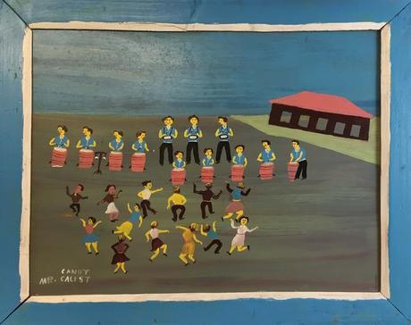 Painting by Mr. Canute Caliste of dancers and musicians on Carriacou.