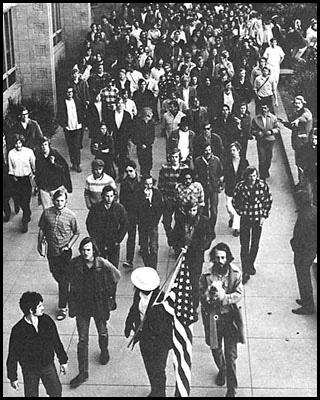 Protestors march through UCSB campus, 1970.