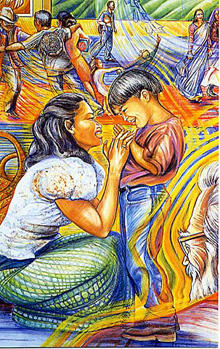SANTUARIO/SANCTUARY, detail of mother and son, mixed media preparatory drawing,