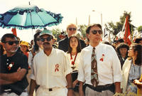 Photograph of Dan Guerrero at funeral of Cesar Chavez, 1993