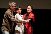 Photograph of Dan Guerrero directing Still Life with Beth Grant & Zilah Mendoza