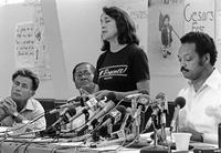 Dolores Huerta at the end of Chávez's 36-day Fast for Life, August 21, 1988