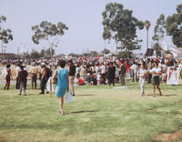 Peaceful gathering of demonstrators at Belvedere Park, East Los Angeles, 1970