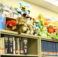stuffed animals and books