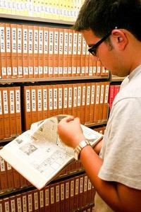 student using the East Asian collection