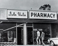 Isla Vista Pharmacy, ca. 1960s. From the University Archives.