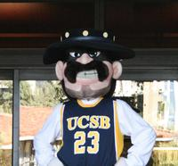 Ole, the UCSB mascot, poses at the entrance