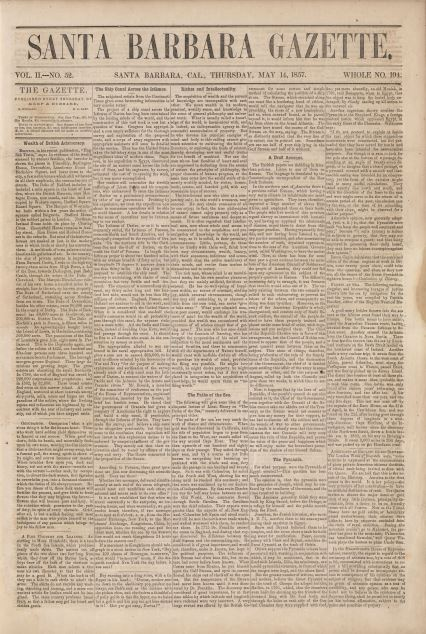 Front page of an issue of the Santa Barbara Gazette