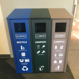 Trash, recycle, and compost bins at the UCSB Library.