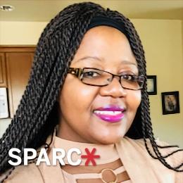 Angela Chikowero with SPARC logo