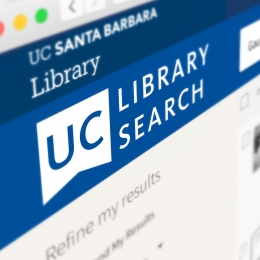 A web browser open to the UC Library Search page.
