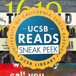 UCSB Reads 2021 logo on top of book spines