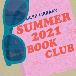 """Sunglasses next to book on the sand with text that reads, """"Summer 2021 Book Club"""""""