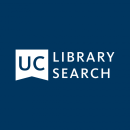 UC Library Search logo on navy background