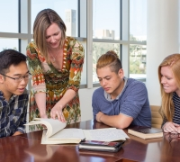 Faculty working with students