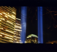 9/11 Tribute to Light. Two lights in the place of the World Trade Center Towers.