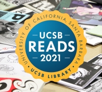 UCSB Reads logo in the middle with zines on a table in the background