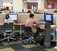 Patrons using Library public computers.
