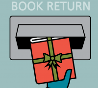 Illustration of a book being returned