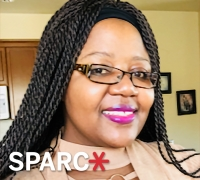 Angela Chikowero with SPARC logo