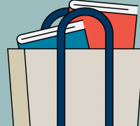 tote bag with books inside