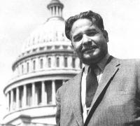 Dalip Singh Saund in front of the U.S. Capitol.