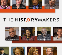 The HistoryMakers logo with headshots of speakers in the archive