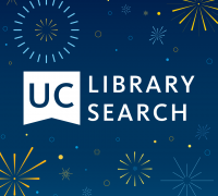 UC Library Search logo with fireworks in the background