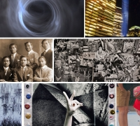 Collage of exhibition images.