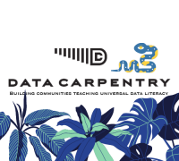 ecology data carpentry logo with blue tropical flowers and leaves along the bottom half. A Python logo is on the right side of the square.