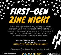 First Gen Zine Night Information