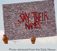 Hand holding Black Lives Matter poster