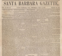 The front page of an issue of the Santa Barbara Gazette