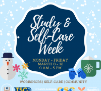 Study & Self-Care Week Badge with department logos and dates of events