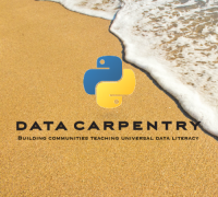 Data Carpentry Logo of Python logo with beach in background