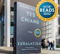A copy of Exhalation sits outside the UCSB Library.