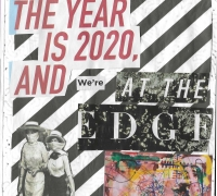"""Image of zine page with writing stating """" The year is 2020 and we're at the edge"""""""