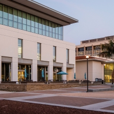 Exterior photo of the UCSB Library Mountain Side