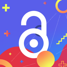 Open Access logo on blue and red background with shapes.