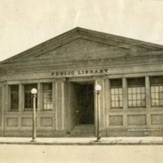 Historic photo of the exterior of the first Santa Barbara Public Library