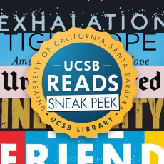 UCSB Reads Sneak Peek logo with book titles in background